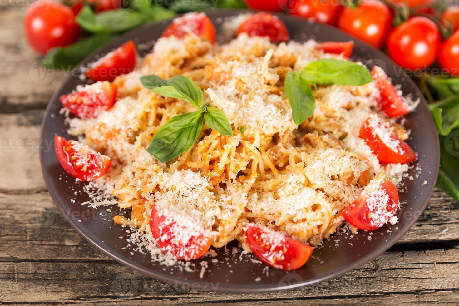 pasta med kyckling foto