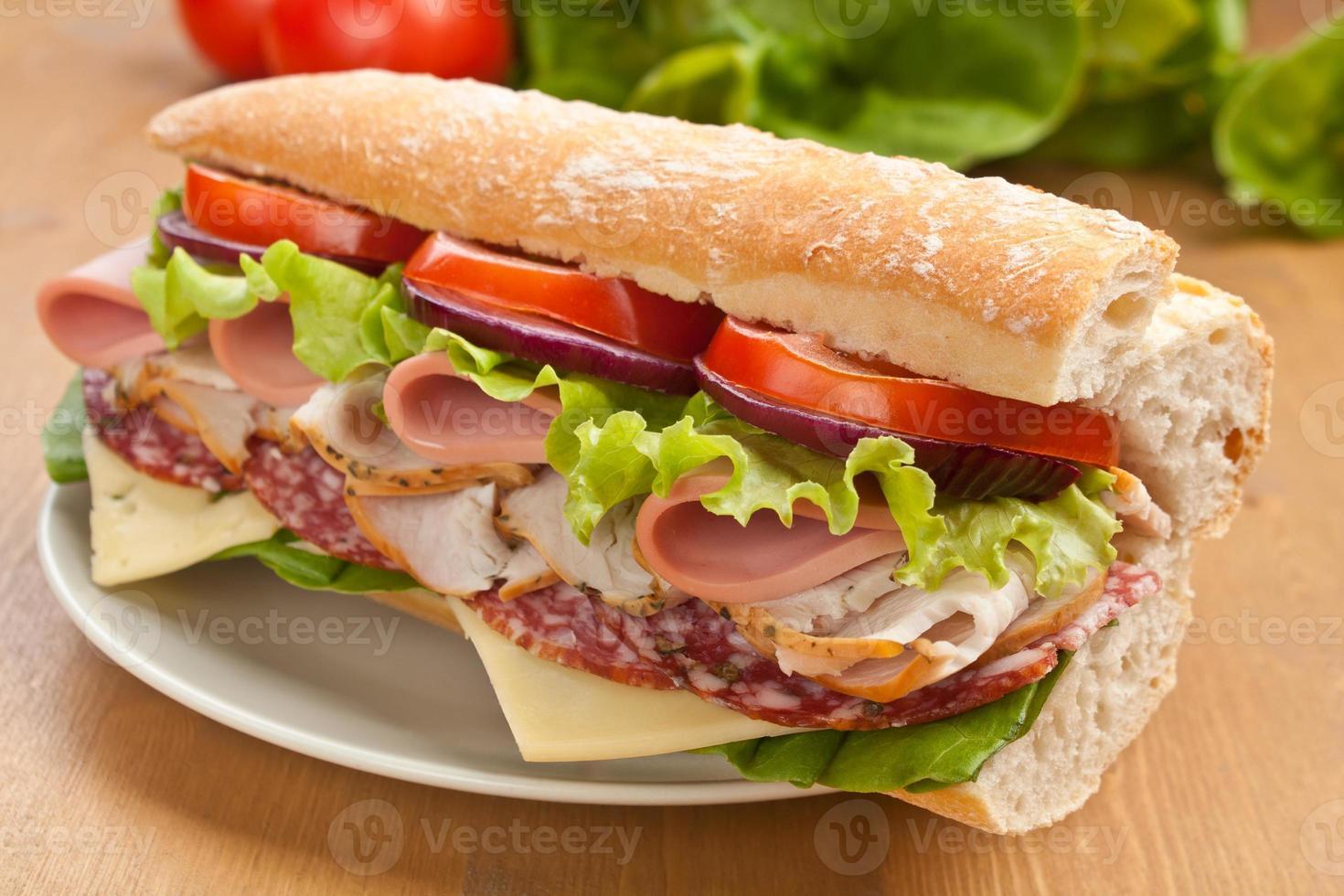 tunnelbana baguette smörgås foto
