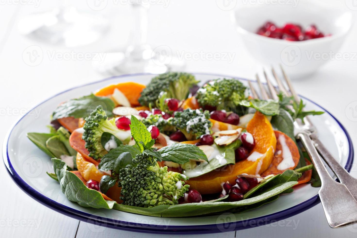 sallad med grönsaker, pepperoni och pomergranat foto