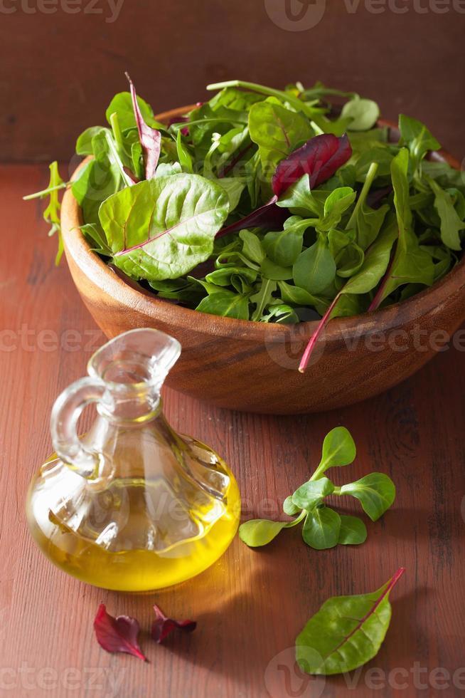 färska salladsblad i skål spenat mangoldruccola foto