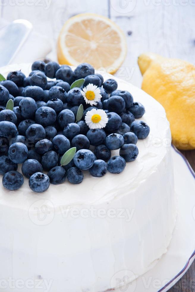 citron blåbär kaka foto