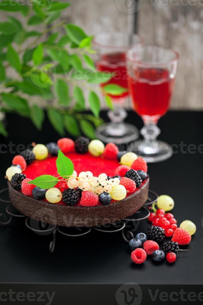 choklad hallon tårta foto
