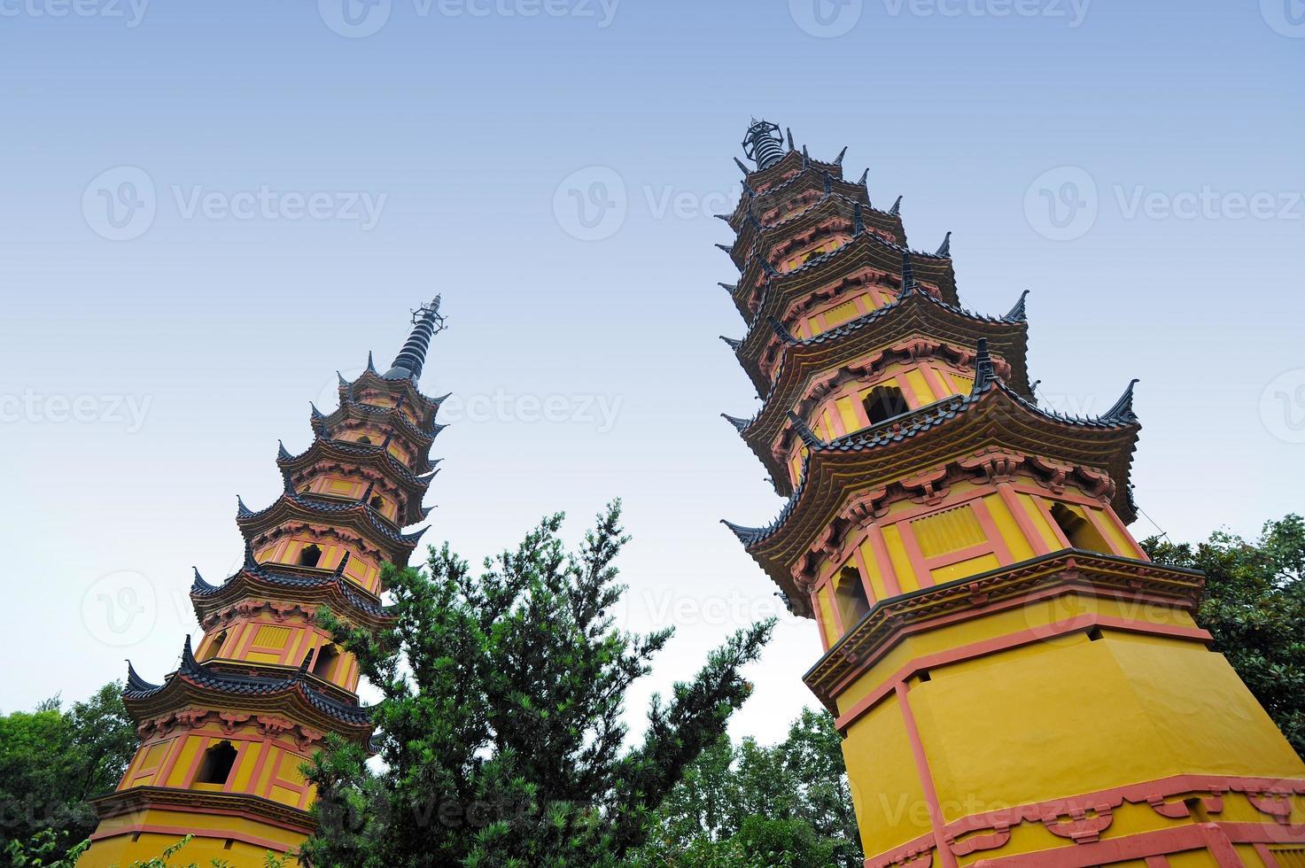 buddhistiska tvillingpagoder i Suzhou - Kina foto