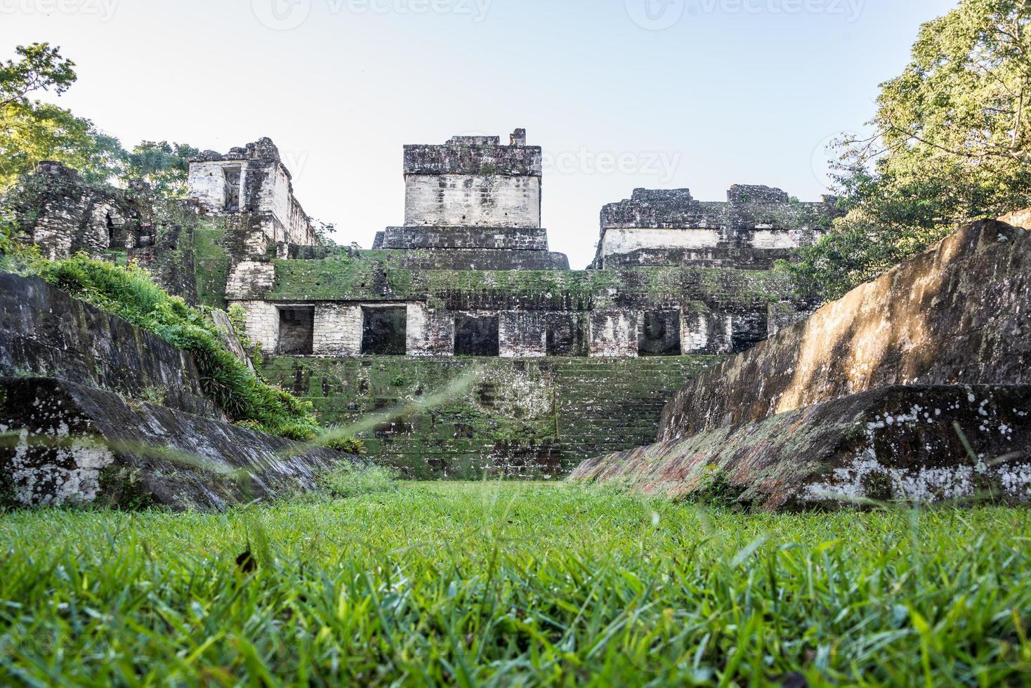 mayan ruiner vid tikal, nationalpark. resande guatemala. foto