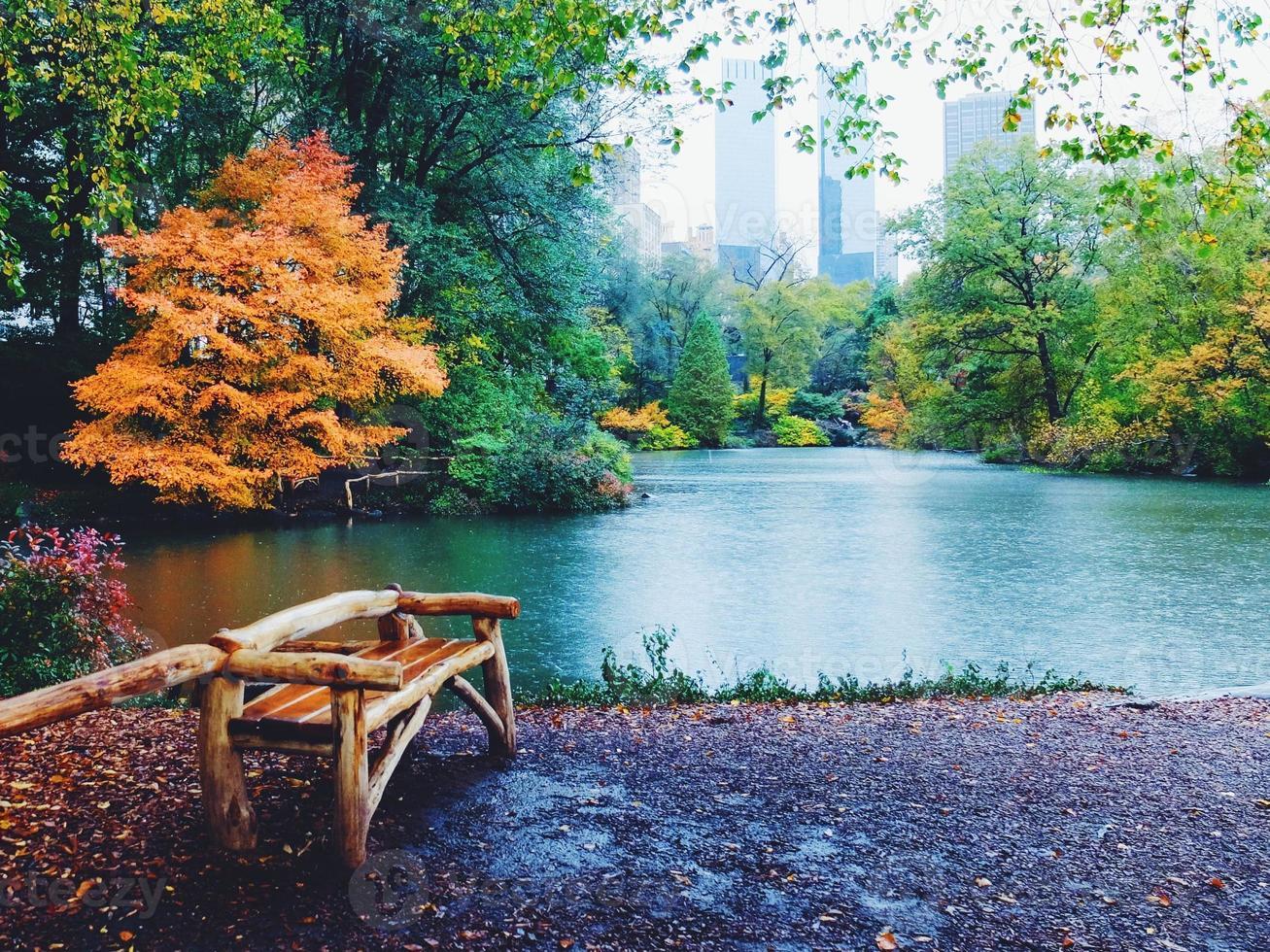 regnig höstdag i Central Park foto