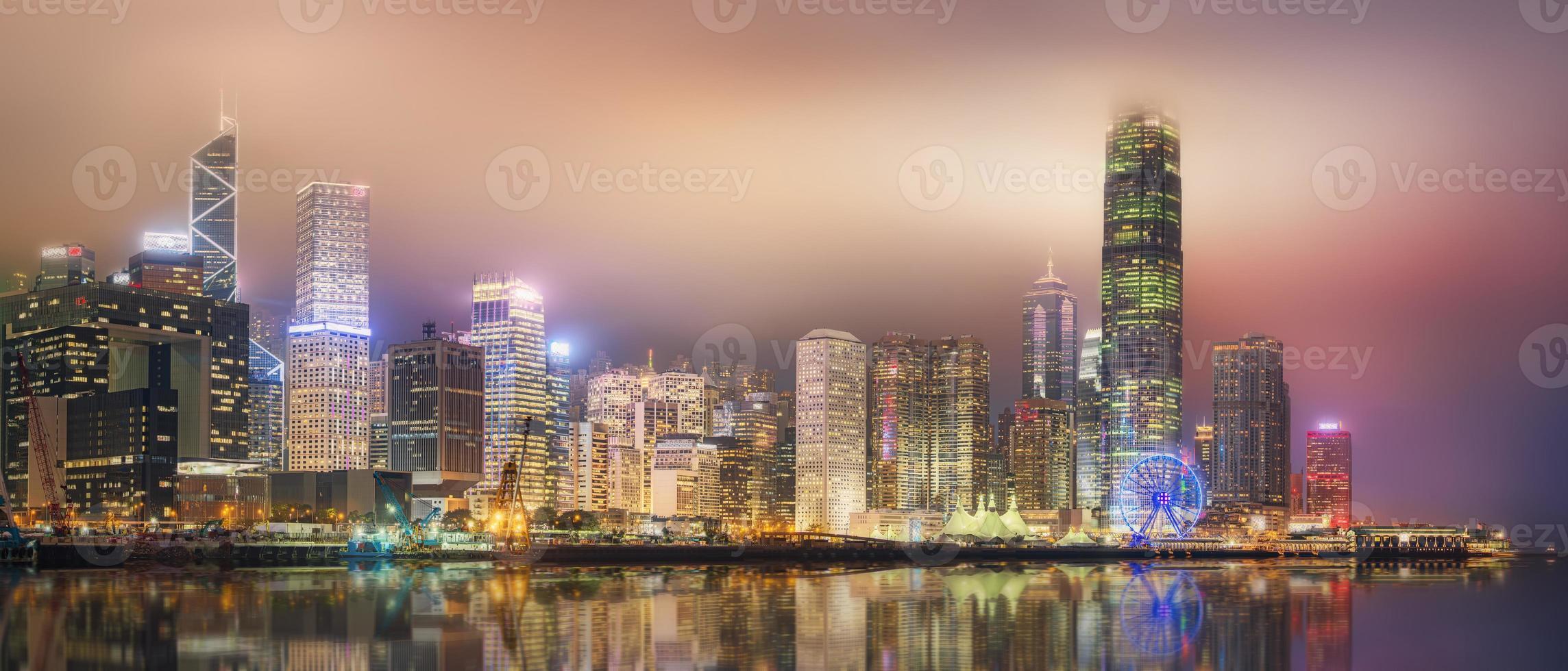 panorama över Hong Kong och finansdistriktet foto
