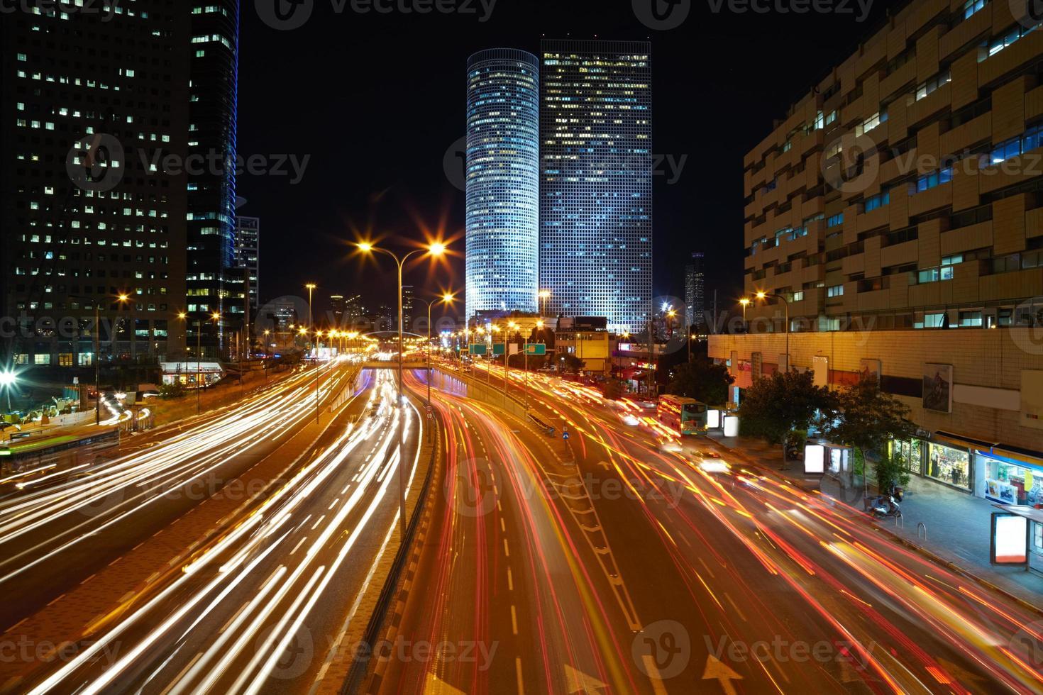 natt trafikstockning foto