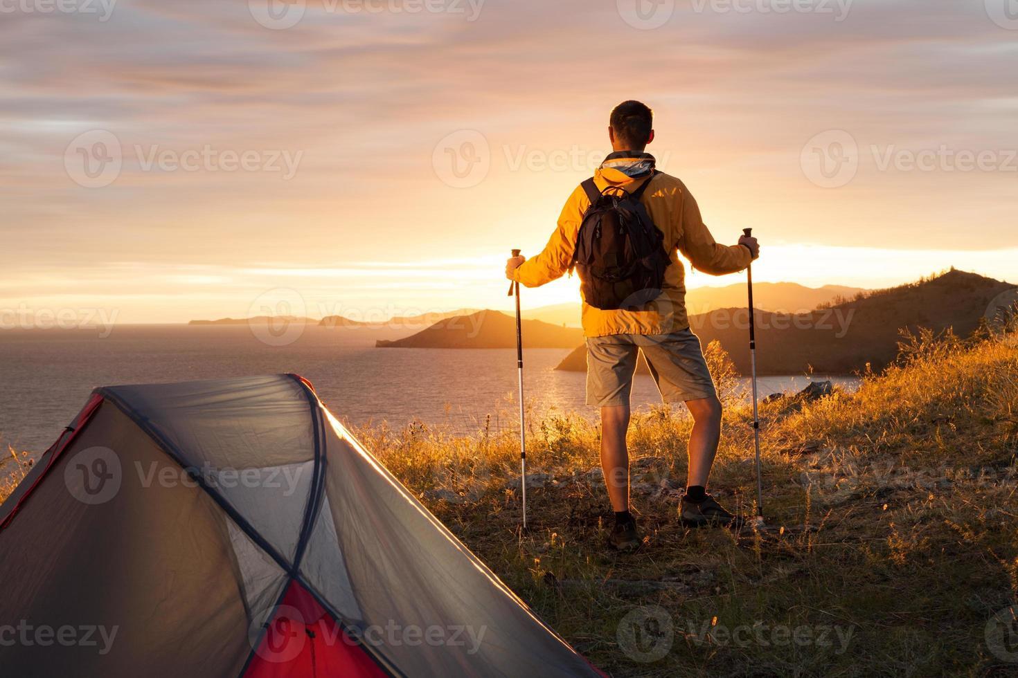 backpacker i ett läger foto