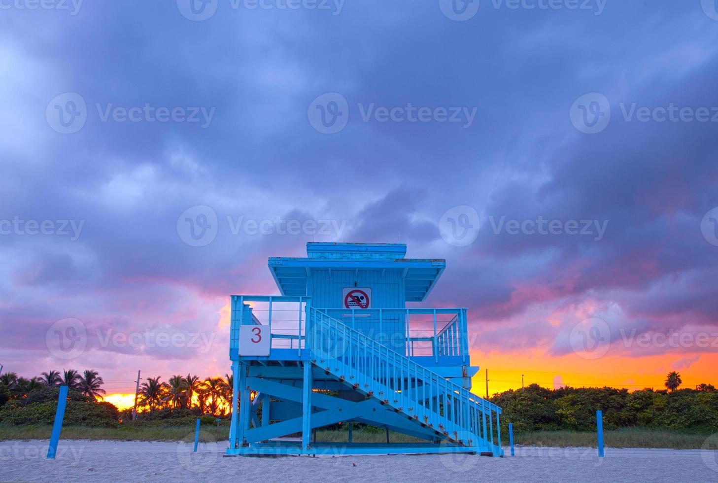 Miami Beach Florida, färgglada livräddare hus foto
