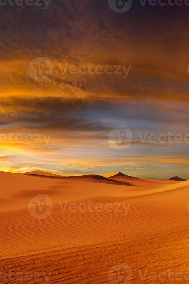 solnedgång öknen foto