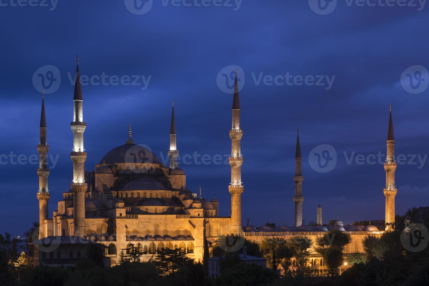 blå moské vid skymningen - istanbul, kalkon foto