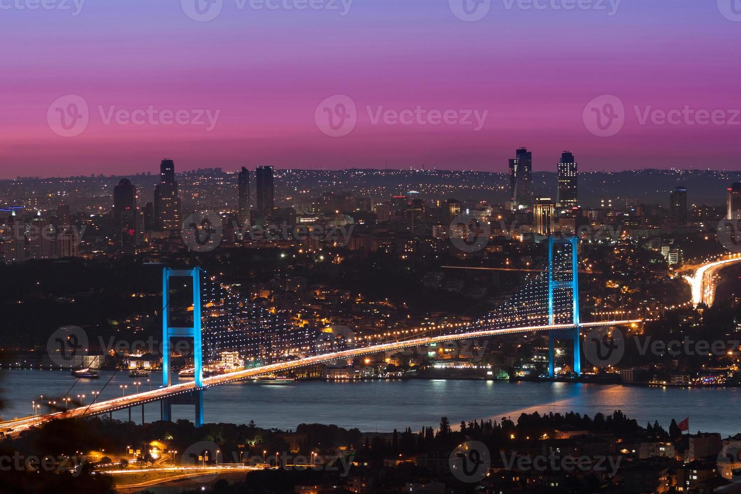 bosphorus bridge vid solnedgången, istanbul kalkon foto