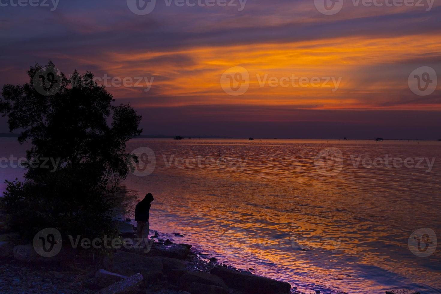 solnedgång i Thailand foto