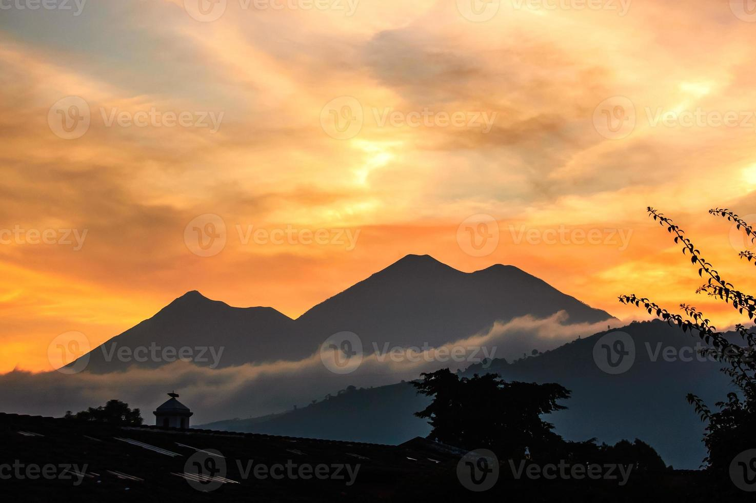 solnedgång vulkan utsikt foto