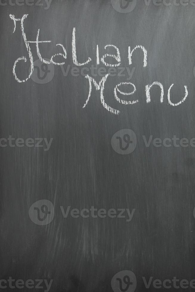svarta tavlan italiensk meny foto