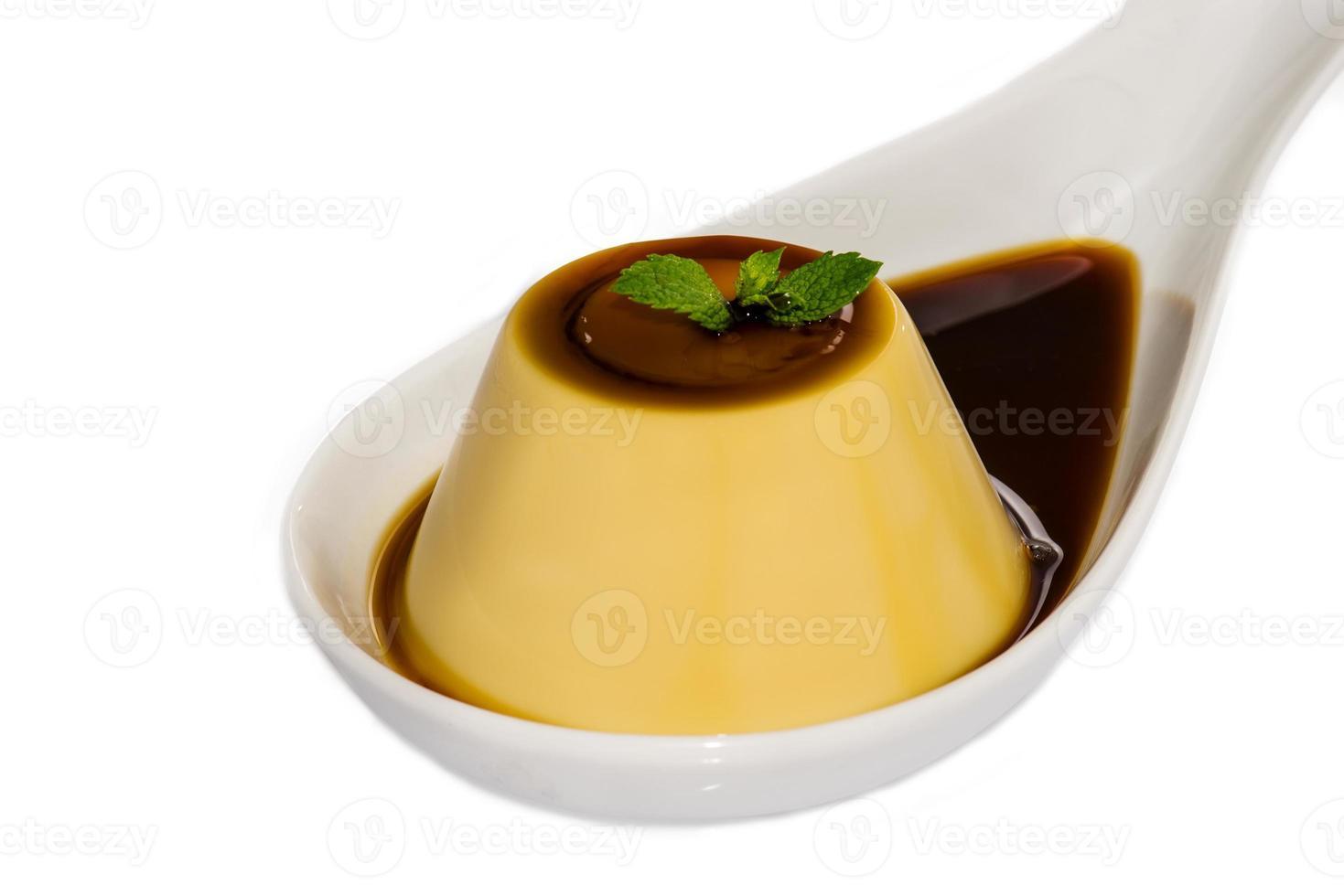 creme karamell, karamell vaniljsås, vaniljsåspudding foto