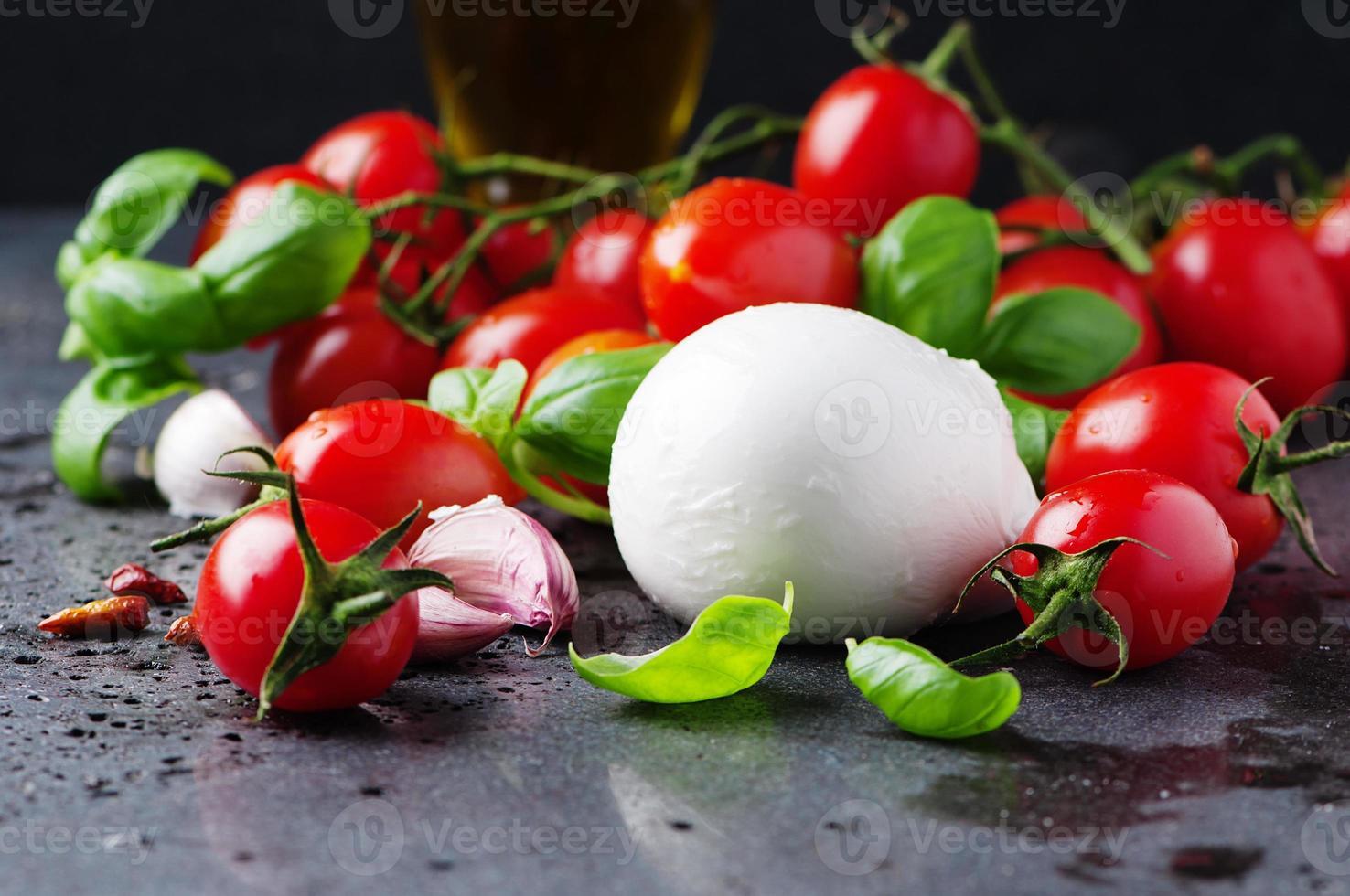 begreppet italiensk mat med mozzarella, tomat och basilika foto