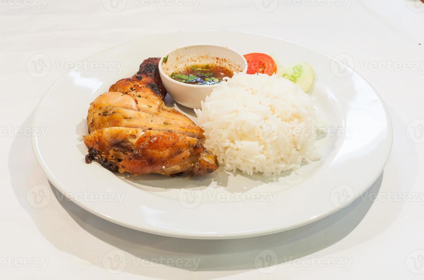 erk kyckling med ris - karibisk stil foto