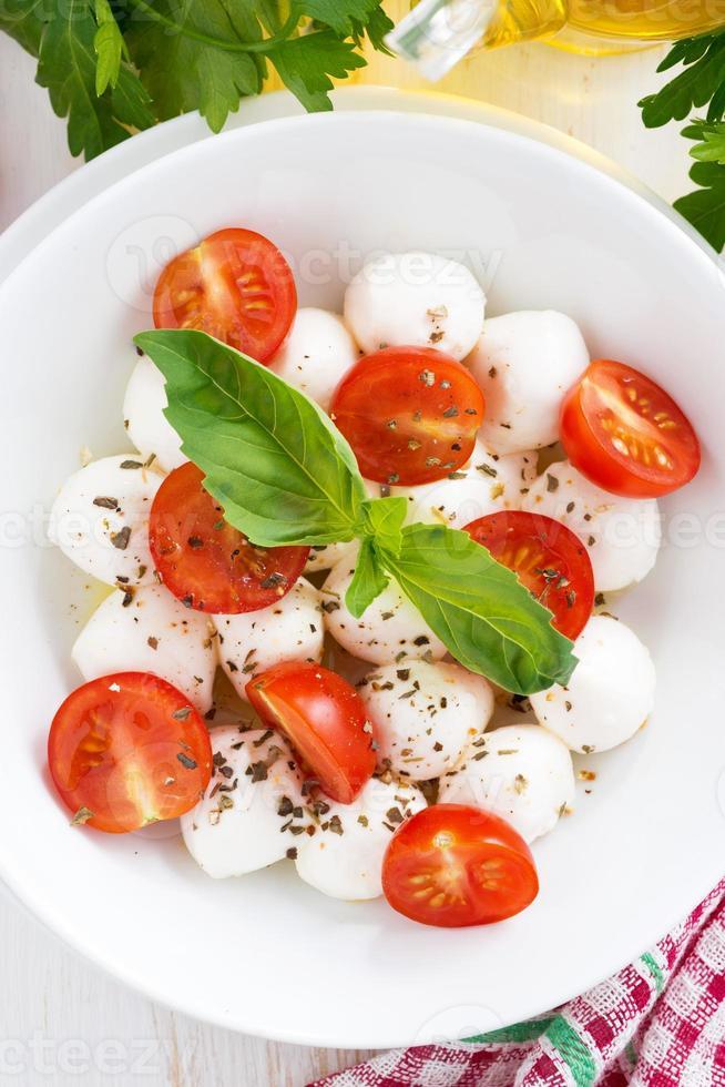 sallad med mozzarella, basilika och körsbärstomater, vertikal foto