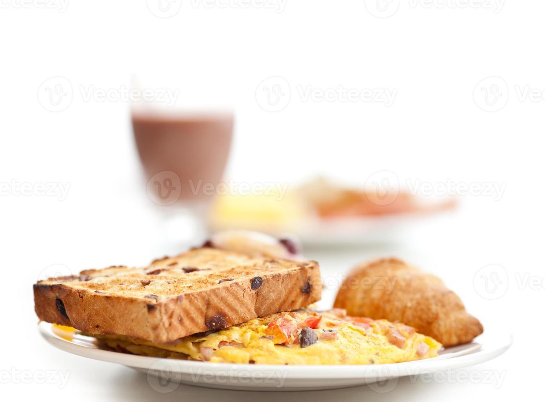 omlette & toastfrukost foto