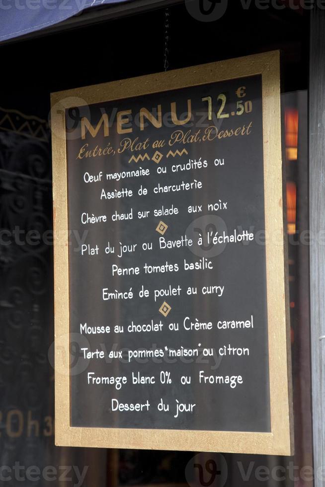 fransk meny foto