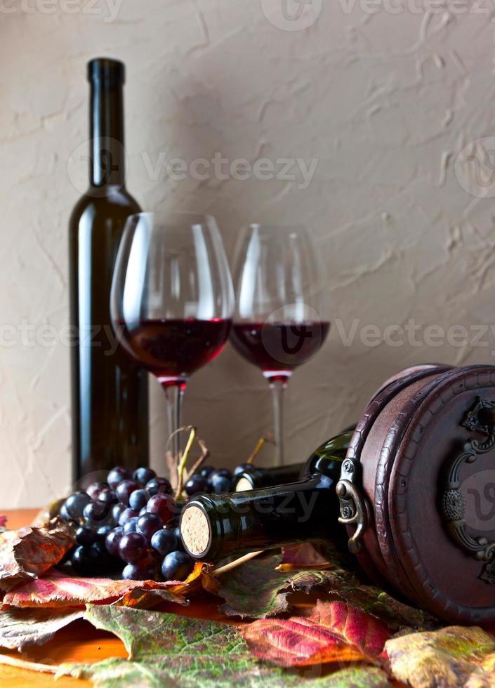 flaska med vin foto