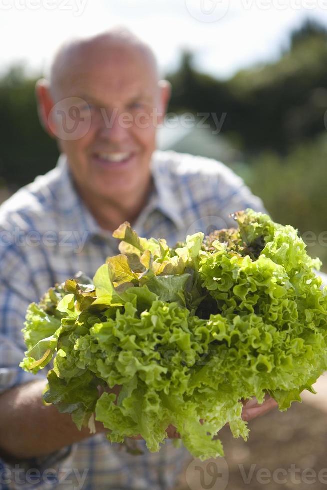 äldre man med sallad, leende, porträtt foto