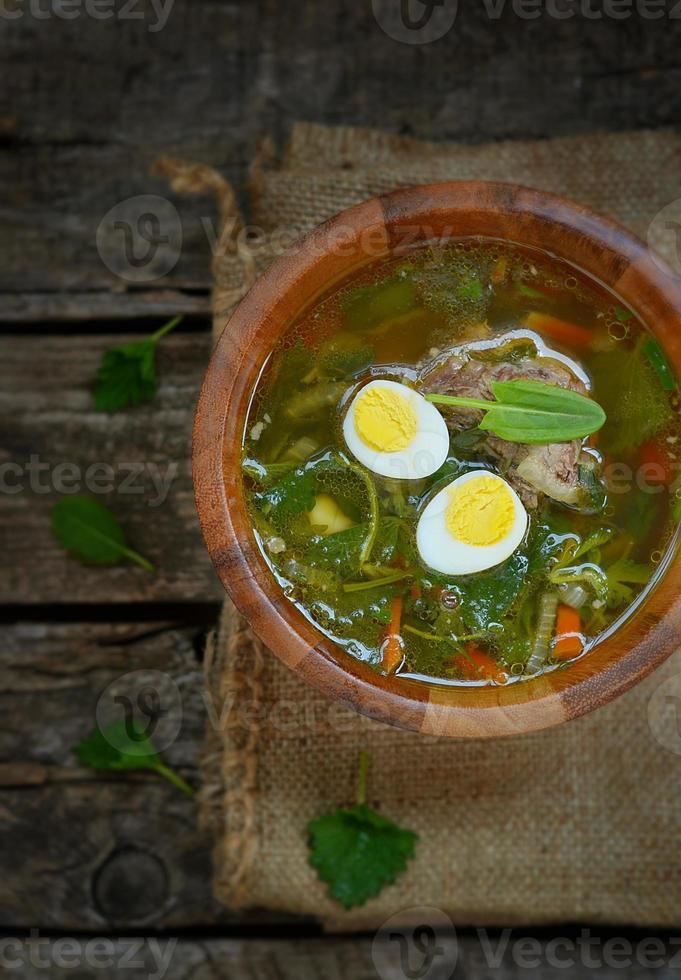 traditionell ryska nässlingsoppa med ägg och gräddfil foto