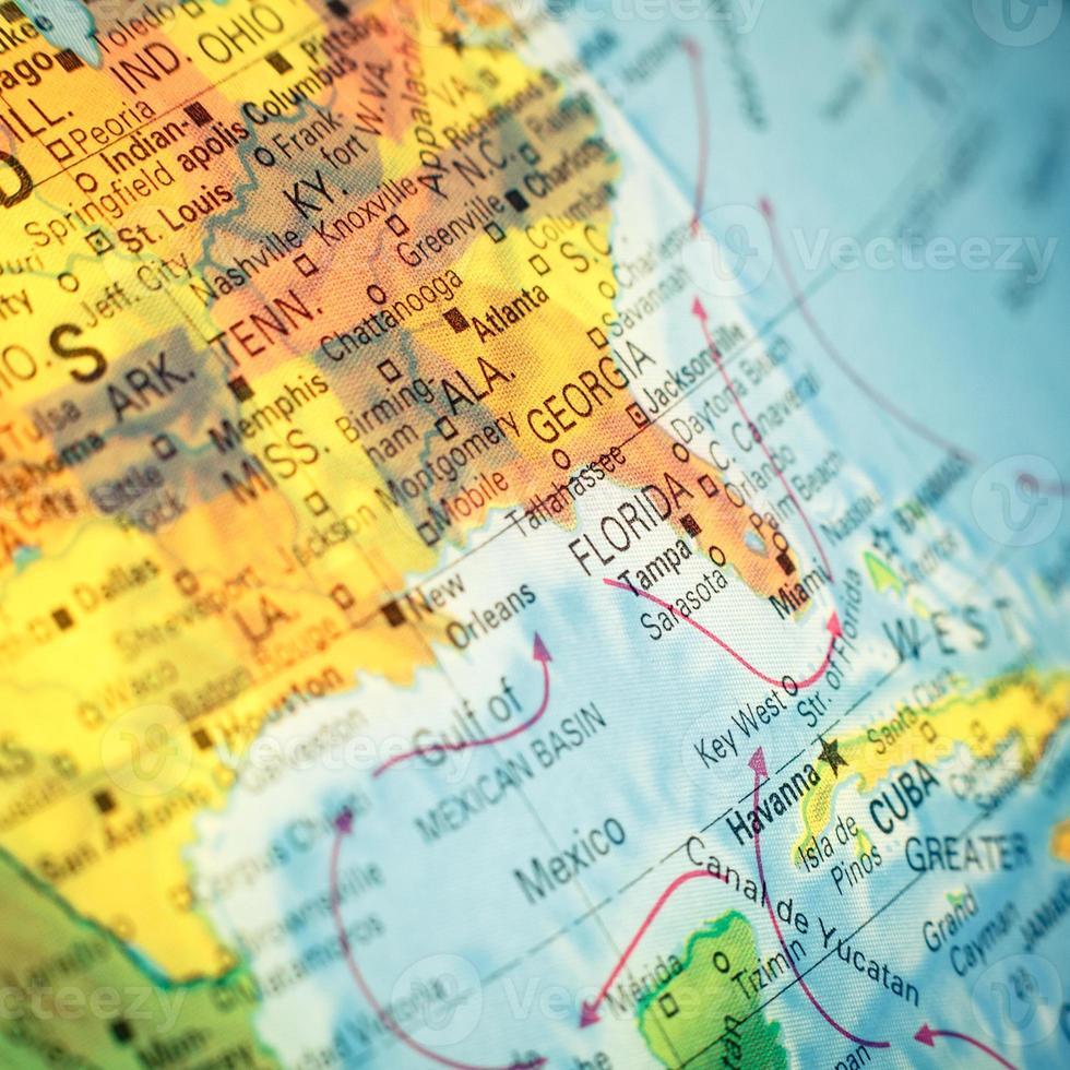 karta sydost USA. närbild foto