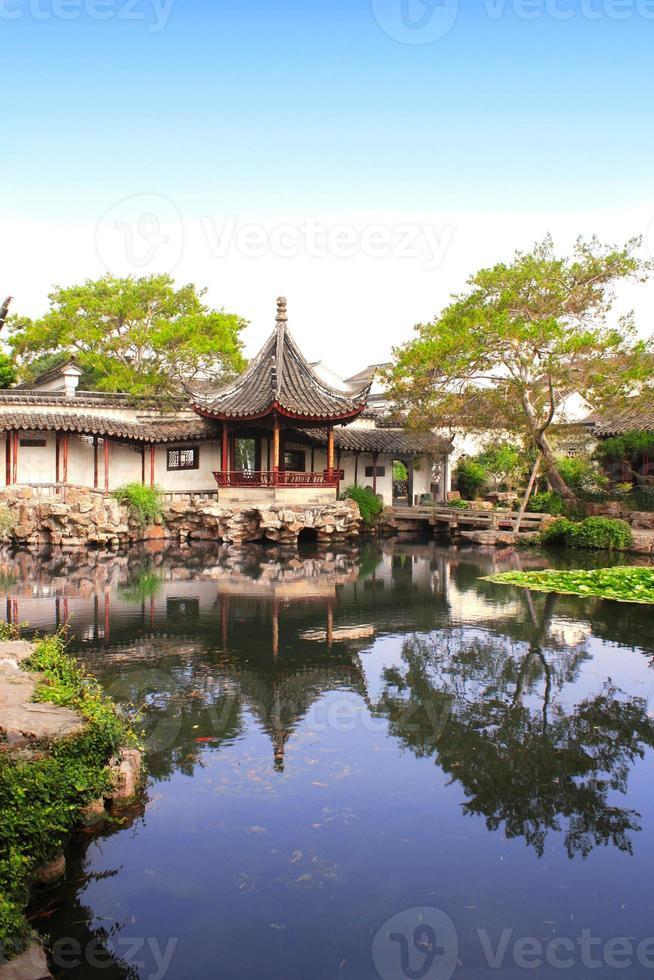 trädgården av fiskaren i Suzhou, Kina foto