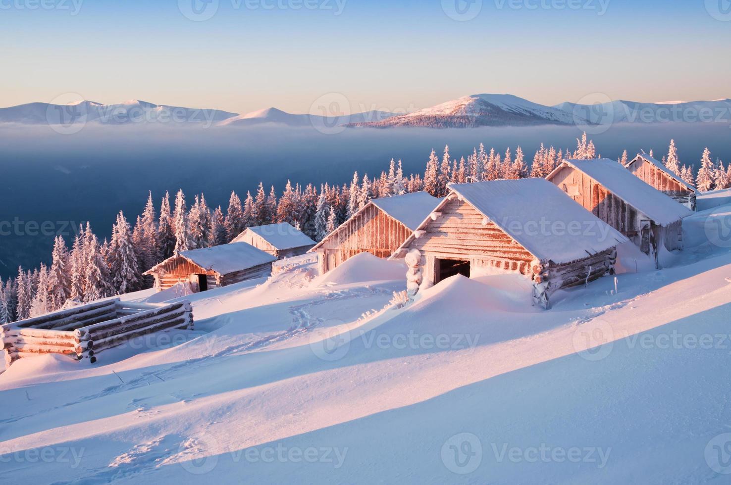 vinter, stugor foto