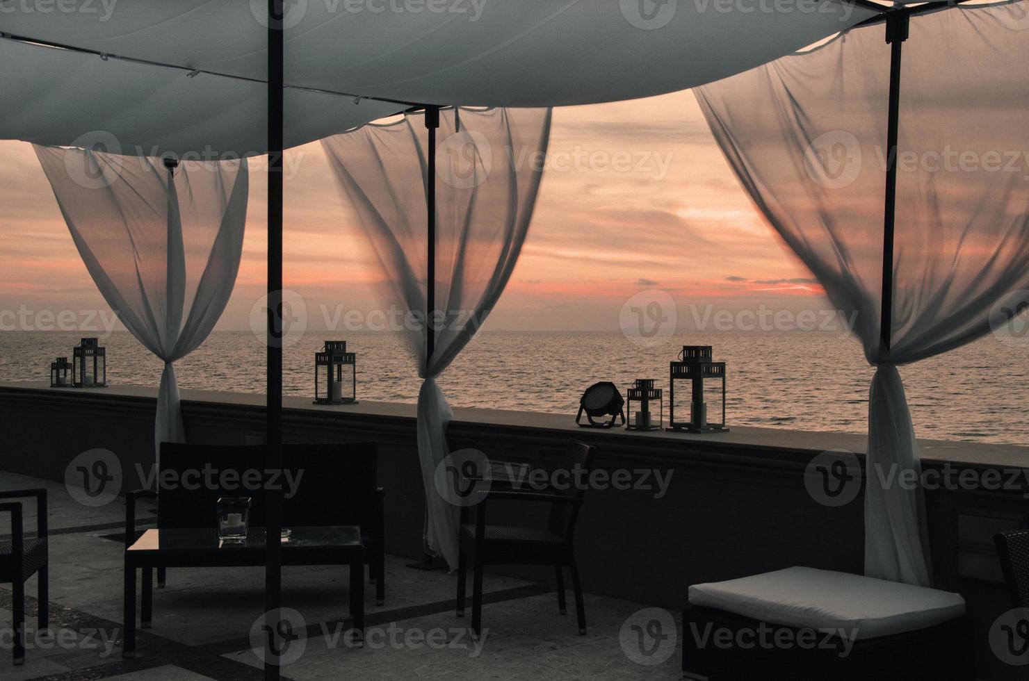 solnedgång terrass Medelhavet foto