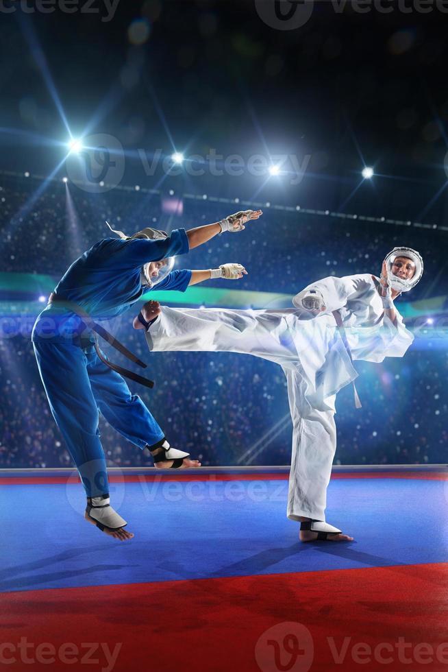 två kudokämpar kämpar på den stora arenan foto