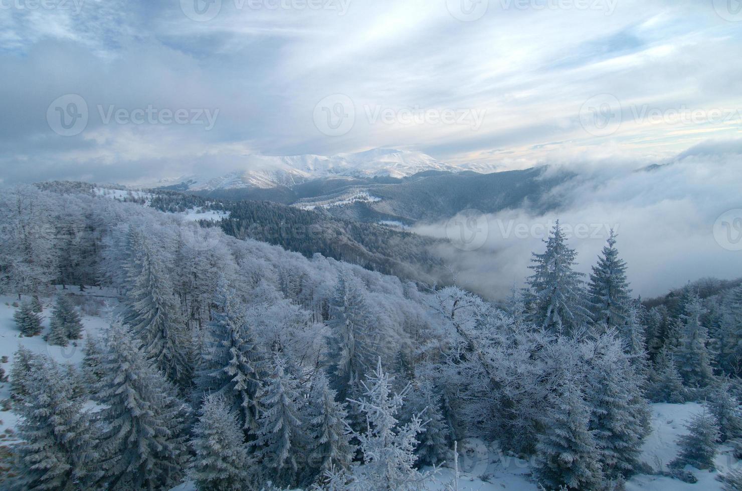 bergslandskap på vintern foto