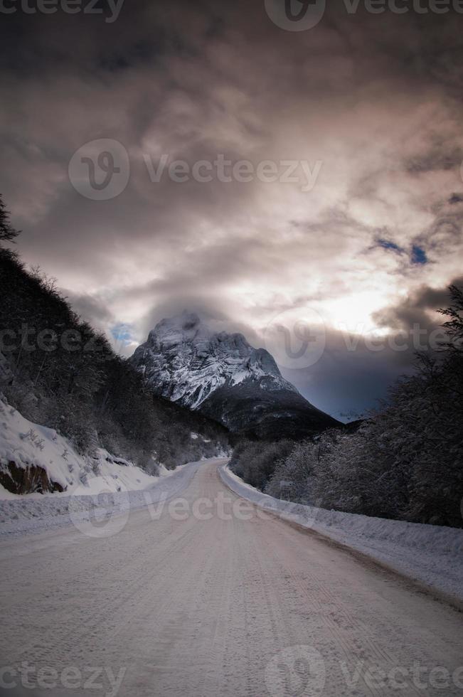 snöig vinterväg foto