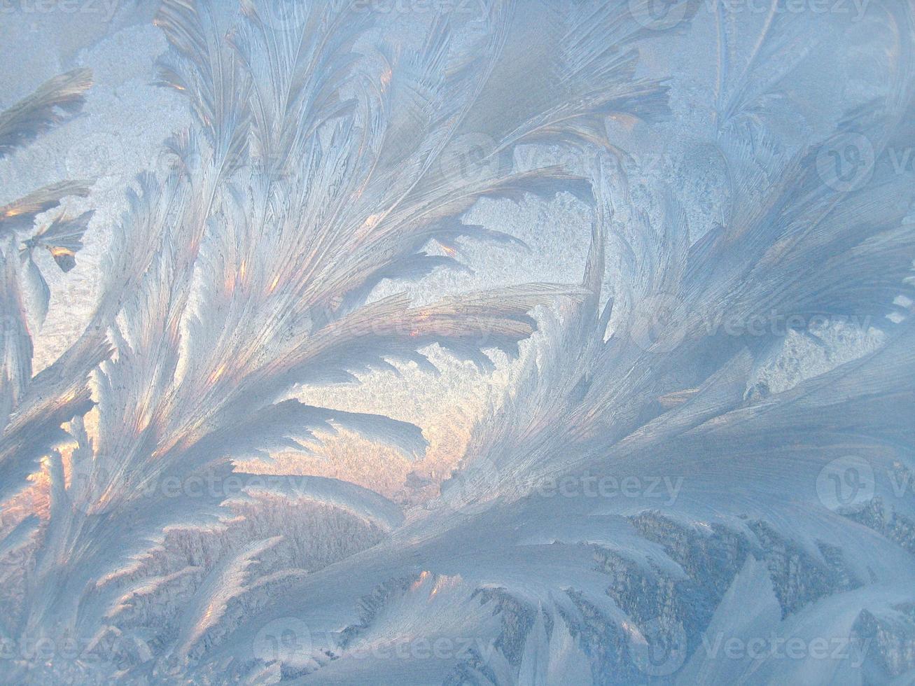 ismönster på vinterglas foto