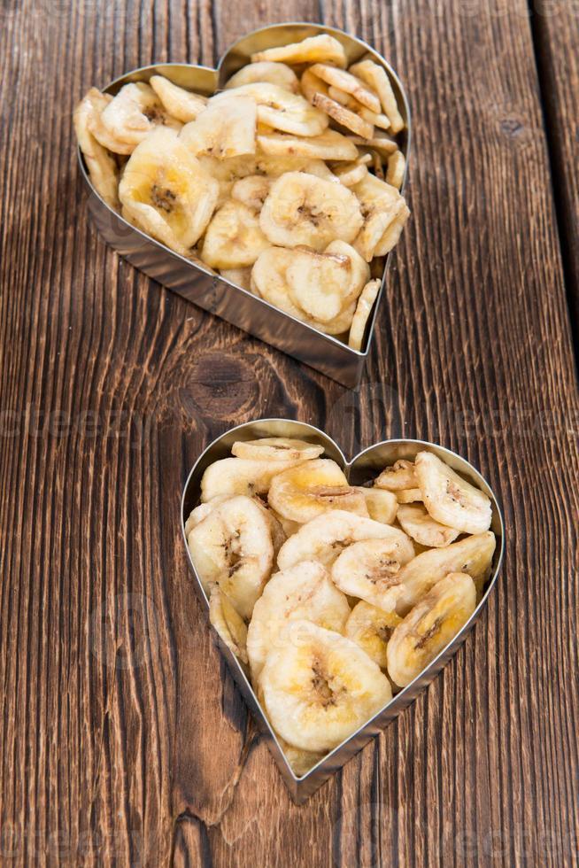 färska torkade bananchips foto