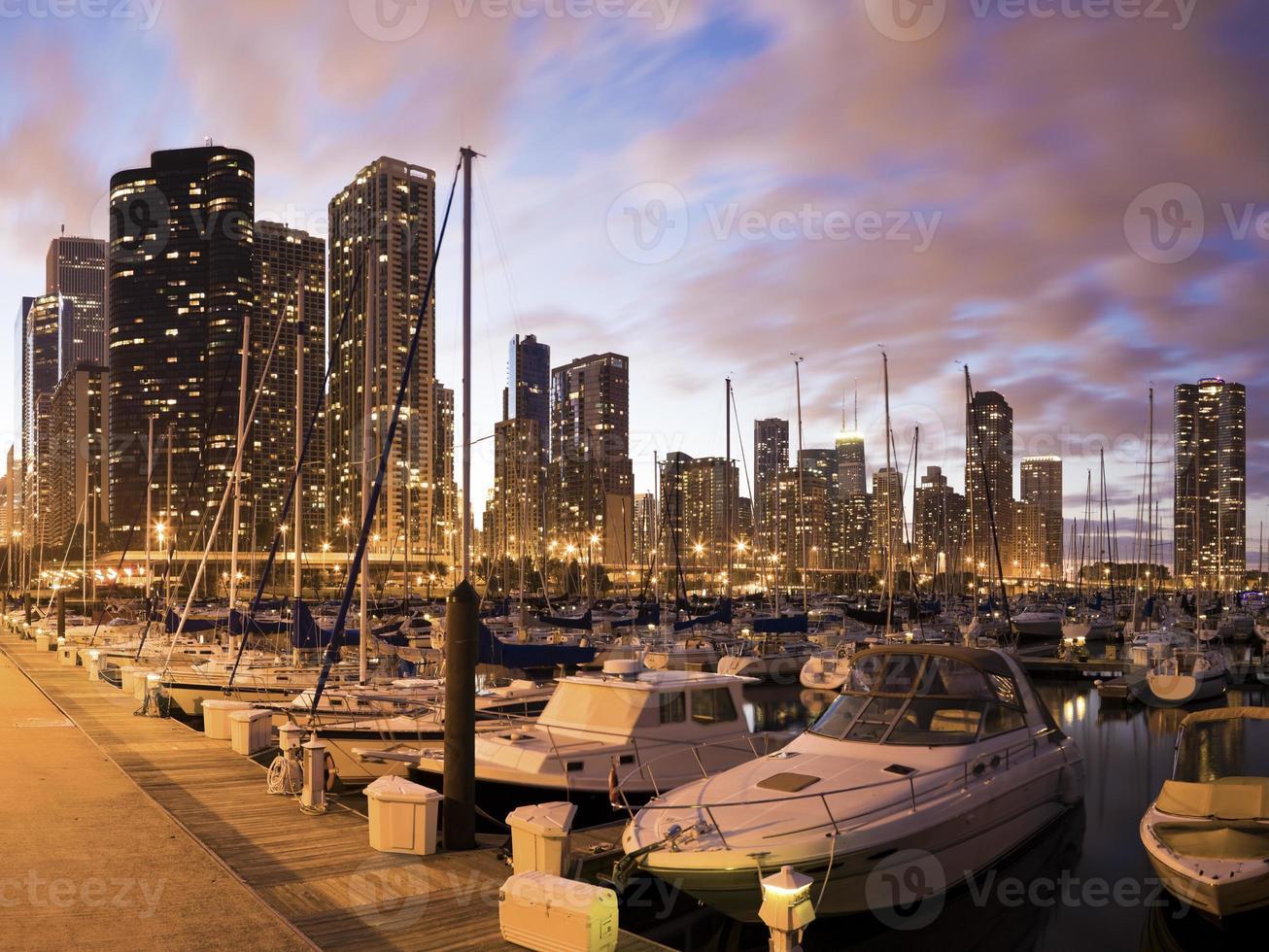 centrum chicago sett från marina foto