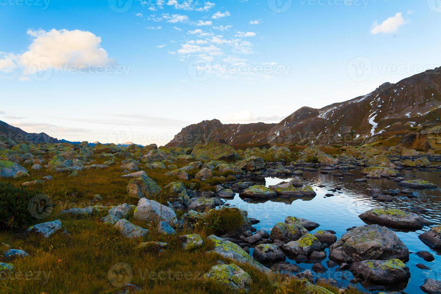 sjön solnedgång höst foto