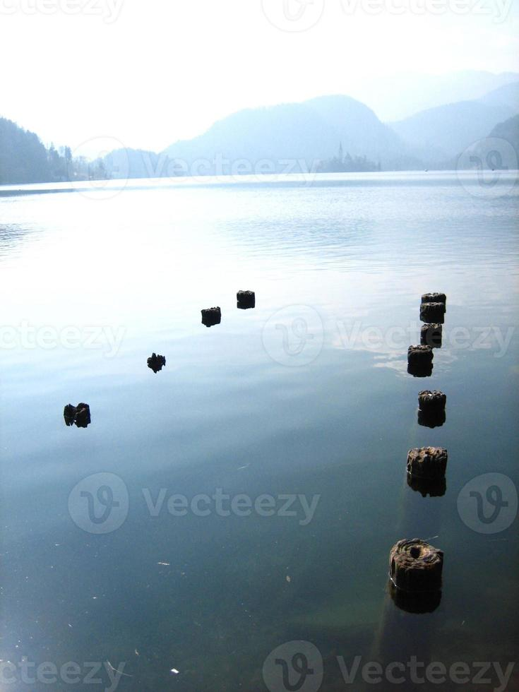 nedsänkta stolpar i sjön foto
