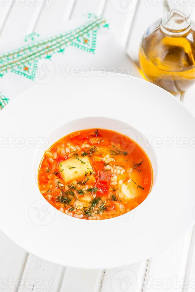 vegetarisk vegetabilisk tomatsoppa foto