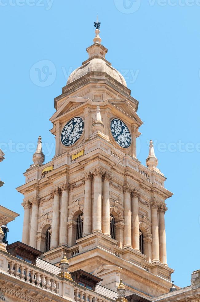 klocktorn av stadshuset i udde staden, Sydafrika foto