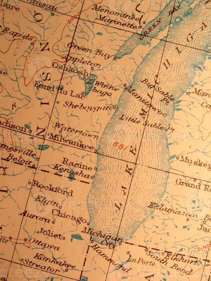 antik karta, american lake michigan - milwaukee / chicago-området. foto