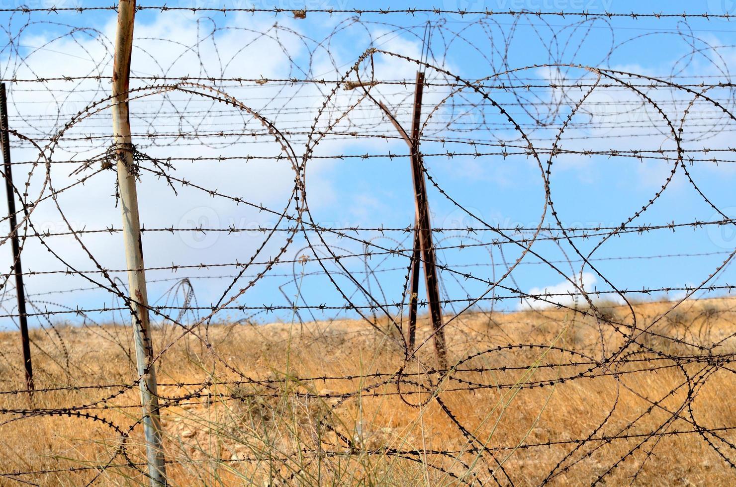 taggtrådsstängsel foto