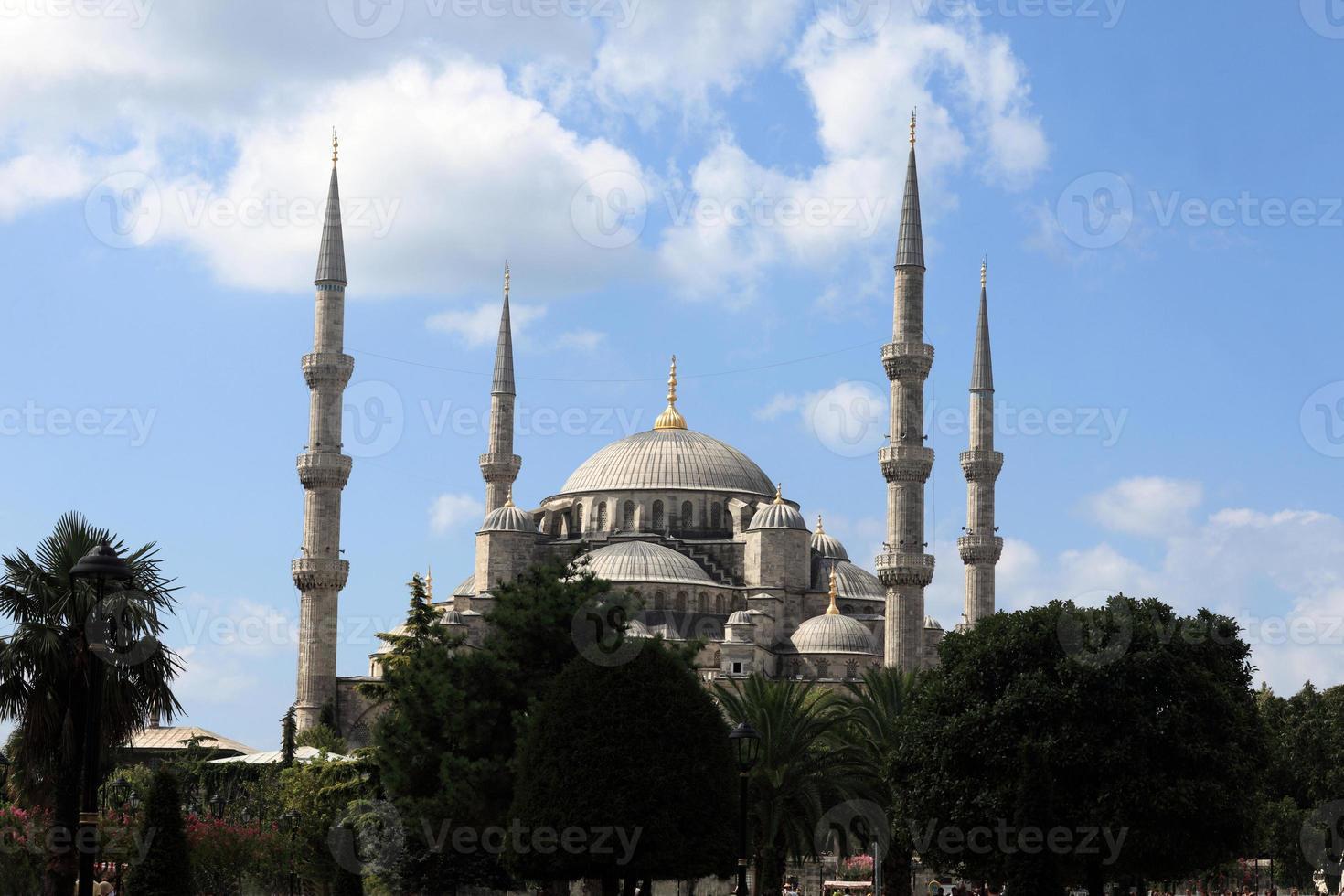 fasad av blå moské foto
