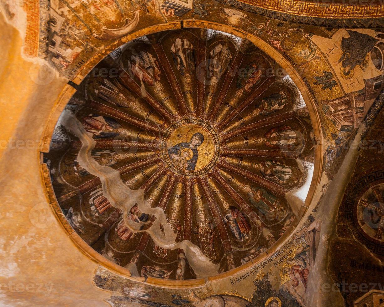jesus och mary väggmålning inuti chora kyrkan foto