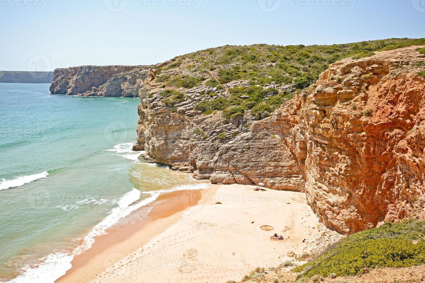 Praia do beliche, strand nära cabo sao vicente, portugal i algarve foto