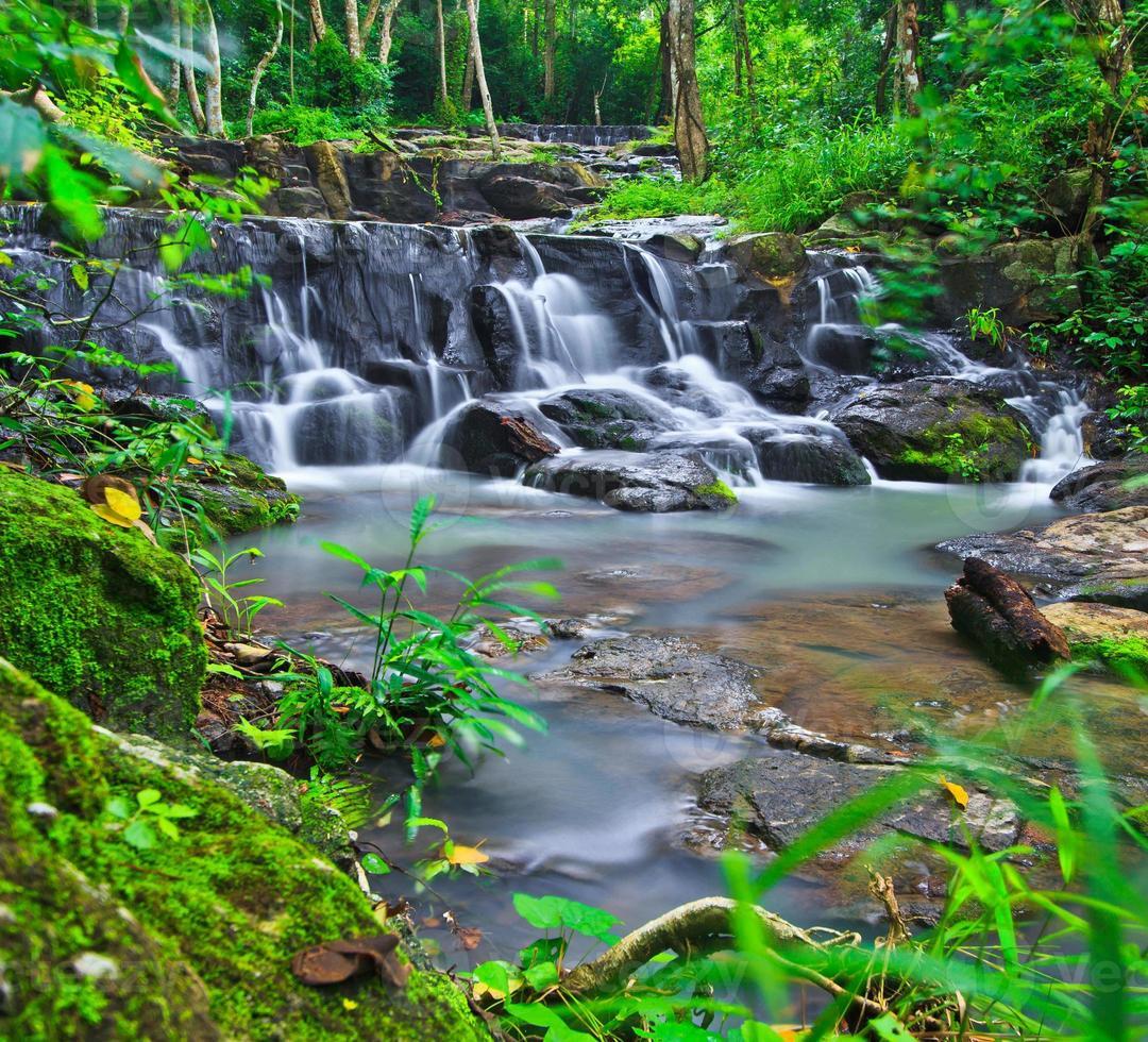 sam lan vattenfall i regnskogen asai thailand foto