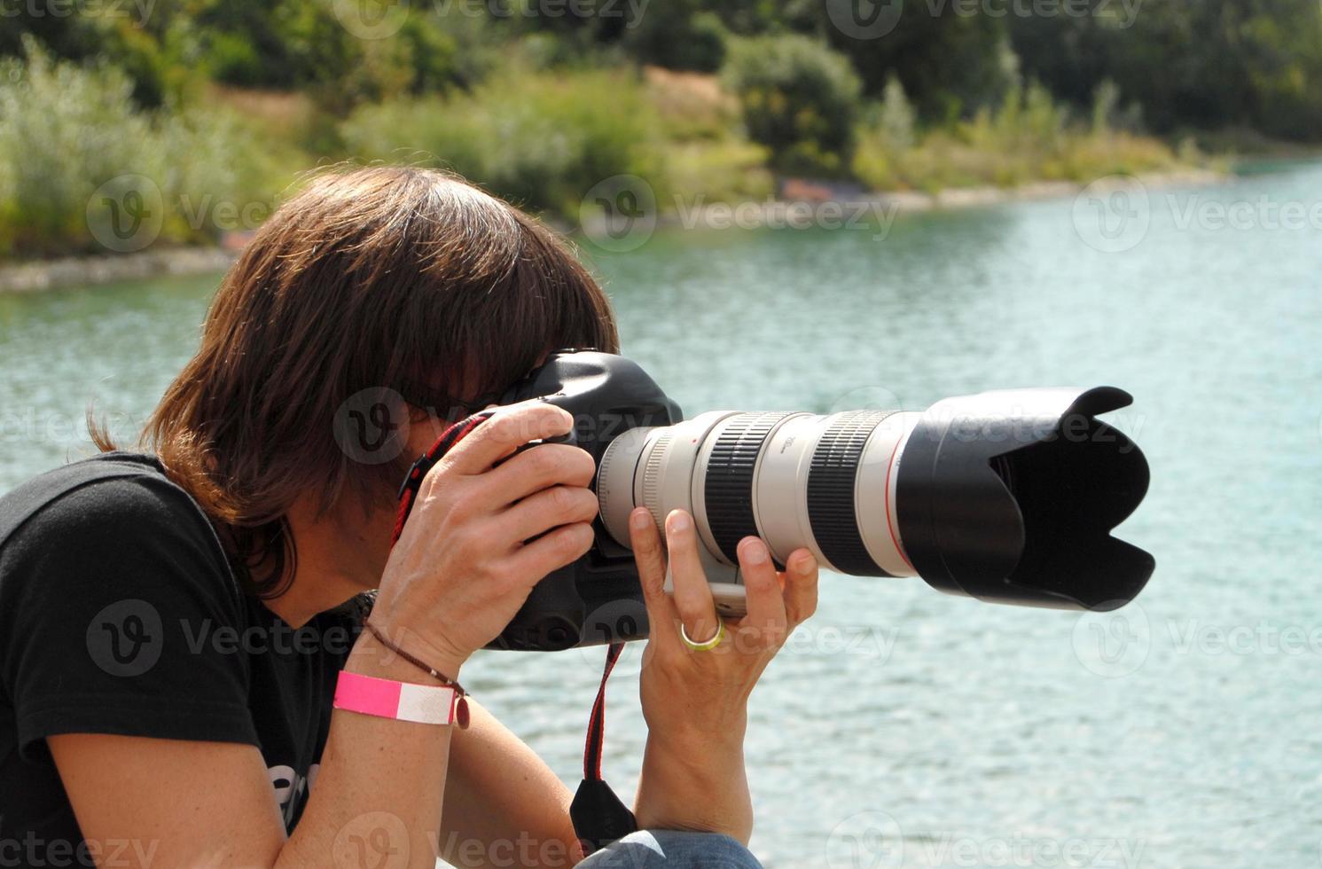kvinnliga paparazzi foto
