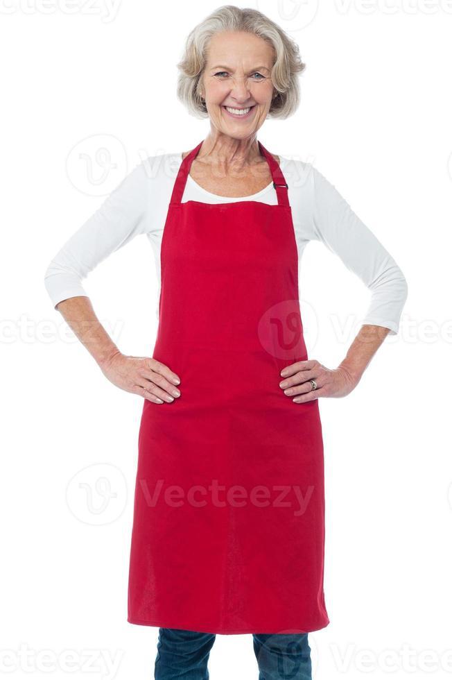 glad åldrig självsäker kvinnlig kock foto